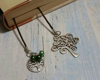 Book thong, bookmark on brown waxed cotton cord with silver-toned tree and tree of life charms and green glass pearl dangles.