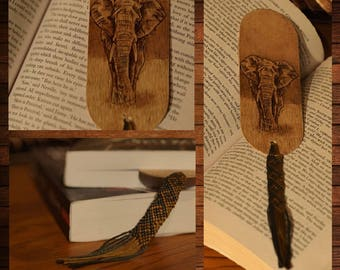 handmade wooden bookmark pyrography elephant