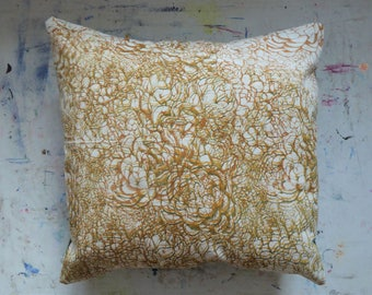 Layered succulent hand screen printed brown, green and yellow cushion cover