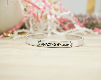 Amazing Grace Cuff Bracelet - Religious Jewelry - Religious Bracelet - Faith Jewelry - Faith Bracelet - Silver Hand Stamped Cuff