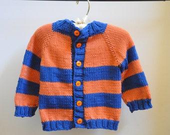 Orange and Blue Baby Cardigan