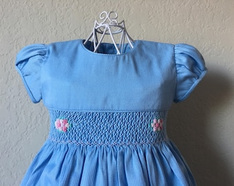 Size 3 Hand Smocked Girls' Dress - Light Blue with Rose Accent Flowers