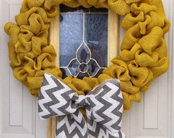 Mustard yellow burlap bubble wreath with chevron bow