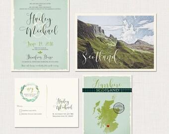 Scotland UK Wedding Invitation Suite - Scottish Invitation with tartan and landscape -Deposit Payment