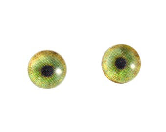 6mm Tiger Glass Eyes - Round Animal Eyes - Pair of Glass Eyes for Doll, Sculpture, Taxidermy or Jewelry Making - Set of 2