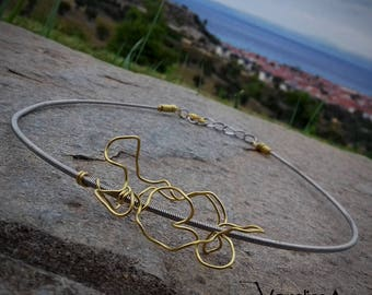 Bass Guitar String Necklace with Golden Wire, Guitar String Jewellery, Handmade Metal Necklace, Musician Jewellery