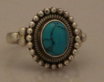 Turquoise Caviar Sphere Sterling Silver Ring