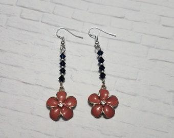 Beaded Earrings, Everyday Earrings, Flower Earrings, Bead Drop Earrings, Statement Earrings, Dangle Earrings, Gift For Women, Crystals