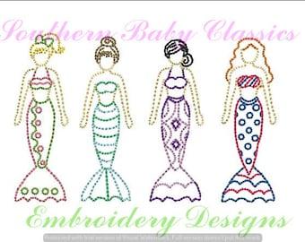 Mermaid Vintage Stitch Row Sketch Fill Stitch Embroidery Design File Embroidery Machine Nautical Cute Girl Quick Stitch Summer