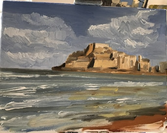 Lovely Oil Seascape and Spanish Castle at Peniscola