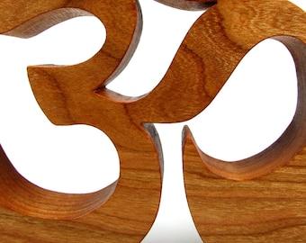 Yoga / Om or Aum Symbol / Shelf Sitter / Cherry Wood