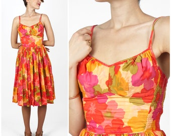 Vintage 50's Bright Peachy Pink Floral Hawaiian Fit and Flare Adjustable Strap Sundress by Andrade Waikiki |  XS/Small