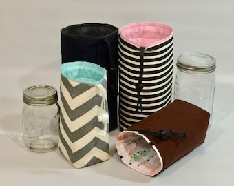 Custom Mason Jar bag, Half-Pint Jars to Go Single zero waste lunch or shopping tote carrier bag