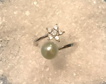 Adjustable Sterling Silver Lite Blue/Graying freshwater pearl ring