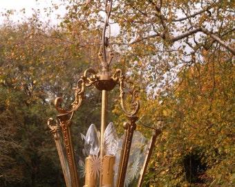 Very pretty vintage French bronze lantern (BN21)