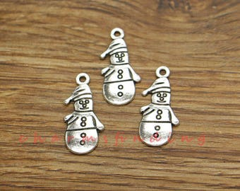 30pcs Snowman Charms Snow Charm Winter Charms Antique Silver Tone 12x25mm cf3500