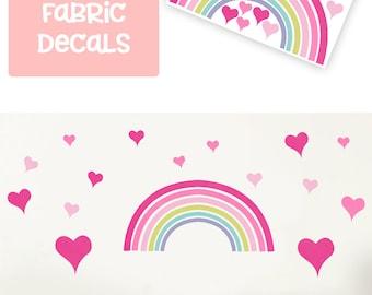 Pink Rainbow wall decal/ Rainbow decor/ Rainbow decals/ Girls Rainbow wall sticker/ Rainbow wall art/ Heart wall decal