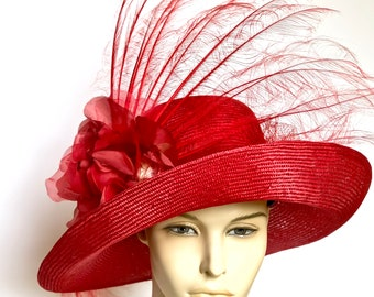 WIDE BRIM Red Kentucky Derby Hat Women's Straw Red Hat