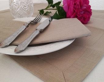 Pure Linen Placemats Set of 6 8 10 12 - Wedding Linen Placemats - Beige Linen Placemats - Easter Placemats - Pastel Color Placemats