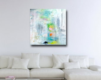 Large Abstract Print, Giclee Print, Wall Art, Canvas Print from Painting, Expressive Canvas Art, White Blue Pink Green Grey Abstract Print