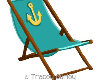 Turquoise Beach Chair with Anchor - with and without Sand -  Original Art - 3 files, beach chair clip art, beach chair printable