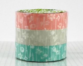 Small Flower Floral Washi Tape Set of 3 Japanese Washi Paper - PrettyTape