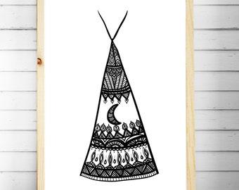 Nursery Print | Boho Bedroom Wall Art | Tribal Prints | Teepee Print | Boho Nursery | Tribal Decor | A4 A3 | Kids Wall Art Prints