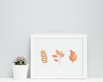 Fall leaves print -  Autumn decor - Fall Printables  - Fall Wall Art - Autumn Print - Fall decor -  Ochre amber - Welcome art prints