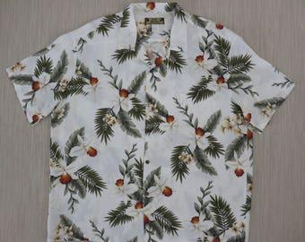 Hawaiian Shirt TWO PALMS Vintage Aloha Shirt White Orchid Surfer Resort Casual Wear Beach Party Mens - 2XL - Oahu Lew's Shirt Shack