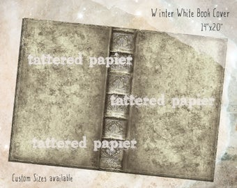 Digital Book Cover Kit Distressed Winter White Journal