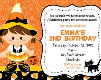Candy Corn Witch Halloween party invitation Candy Corn Witch Birthday Invitation You print or I print any hair color