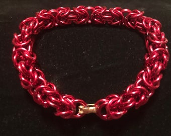 Women's Red Byzantine Chainmaille Bracelet