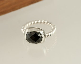 Black Spinel Rose cut Sterling Silver Ring, twisted wire band