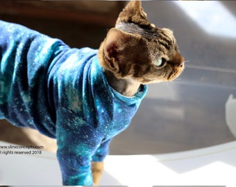 Clothes for pets, Galacticat in Blue or Purple with Black Sphynx Cat Clothes. Sleeve length/pattern your choice, ReTro Pet™