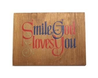 Vintage Plaque - Smile God Loves You