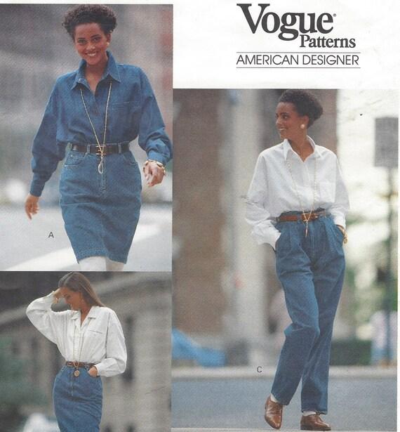80er Jahre DKNY Vogue Nähen Muster 2372 Womens Jeans Rock Mini