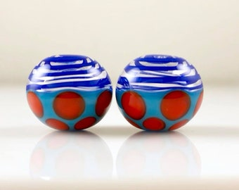 Blue and Orange Spots Hollow Lampwork Glass Bead Pairs