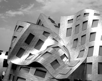 Abstract Decor Photo Print. Minimalist Wall Art. Silver Frank Gehry Architecture. Abstract Art. Las Vegas Photography. Black and White Photo