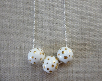 Speckled Gold Dalmasian Ball Necklace SALE