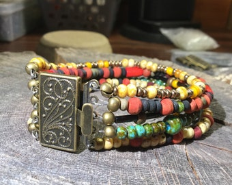 Bohemian 5 strand multicolored bracelet with antiqued brass clasp