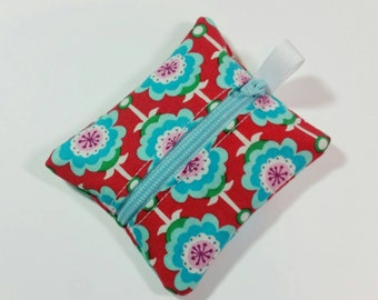 Tiny zipper pouch / earbud case / ear bud pouch / coin pouch / jump stick case / mini zipper pouch | Aqua Flowers on Red