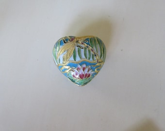 JAPAN CLOISONNE HEART Shaped Box with Lid