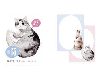 Note pad/cat illustration/blue and pink/go back to school