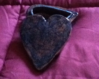 Clay heart shaped box with lid