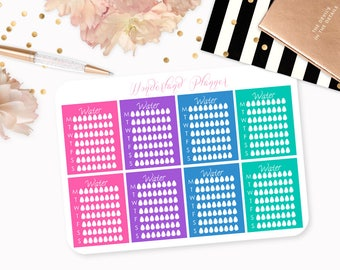 Jewel Tone Weekly Hydrate Water Tracker Planner Stickers // Perfect for Erin Condren Vertical Life Planner
