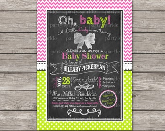 Oh Baby A Little Lady Is On The Way!  Chalkboard Baby Shower Invite - Chevron and Dots -  Digital Printable Invitation 4x6 or 5x7 jpg or pdf