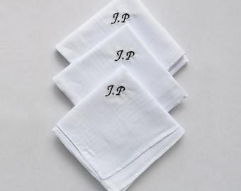3 X Handkerchiefs Hankies Personalised With Your Initials