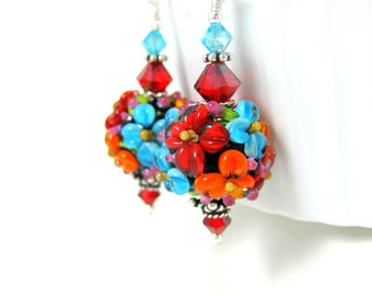Bright Colorful Floral Earrings, Botanical Earrings, Nature Earrings, Cottage Chic Jewelry, Flower Earrings, Lampwork Earrings Boho Earrings
