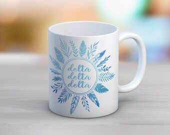 TriDelta Delta Delta Delta Feathers Mug Sorority Coffee Mug