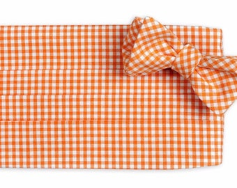 Orange Gingham Cummerbund Set - Self Tie Bow Tie and Adjustable Cummerbund Set - Orange Wedding Cummerbund Set